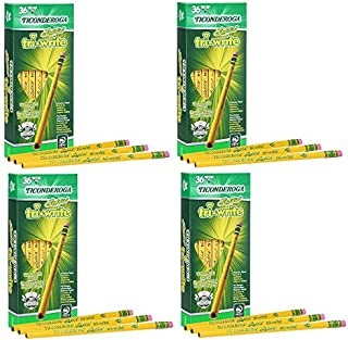 Ticonderoga Laddie Tri-Write Pencils, Wood-Cased #2 HB Soft, Intermediate Size Triangular with Eraser, Yellow, 36-Pack (13042) Pack of 4
