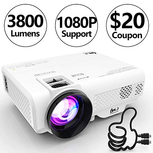 DR. J Professional 3800L Full HD 1080P Portable Video Projector Supported Mini Projector [Native 1280720], TV Stick, HDMI, VGA, USB, TF, AV, Sound Bar, Video Games Compatible Latest Upgrade