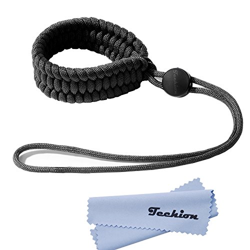 Techion Braided 550 Paracord Adjustable Camera Wrist Strap/Bracelet for Cameras, Binoculars, and Other Stuff (Black V2)