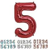 PARTY Globos de Cumpleaños - Número Grande en Color Rojo Metalizado - Fiesta de cumpleaños y Aniversarios - Gigante 105 cm - Hinchable - Tamaño XXL (5-Rojo)