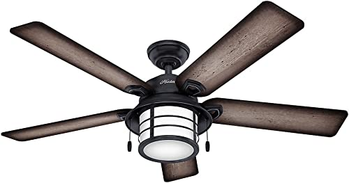 discount Hunter popular Key sale Biscayne Indoor / Outdoor Ceiling Fan with LED Light and Pull Chain Control outlet online sale