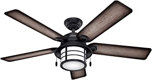 """Hunter 59135 Key Biscayne 54"""" Weathered Zinc Ceiling Fan with Five Burnished Gray Pine/Gray Pine Reversible Blades"""