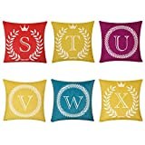 ACKW Pack De 6 Letras Inglesas Decorativa Cuadrado Funda De Cojin,Sencillo Funda De Almohada para Sofás Throw Pillow Case con Cremallera Oculta