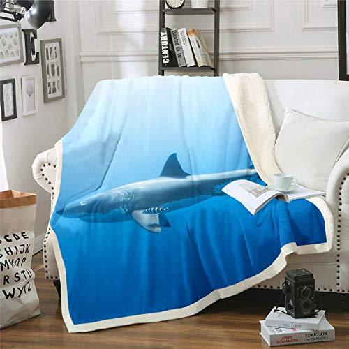 Loussiesd Manta de tiburón con temática marina de mar de sherpa, manta de felpa para silla, sofá, sofá, hombre, criatura peligrosa, decoración de habitación, reversible, 30 x 40 pulgadas