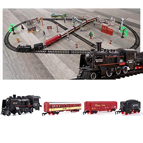 Polai Train Électrique, Circuit Train Electrique, Locomotive à Vapeur Electrique, Coffret de Train avec Lumière et Fumée