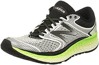 New Balance Men's 1080V7 Running-Shoes, White/Energy Lime, 11 D US