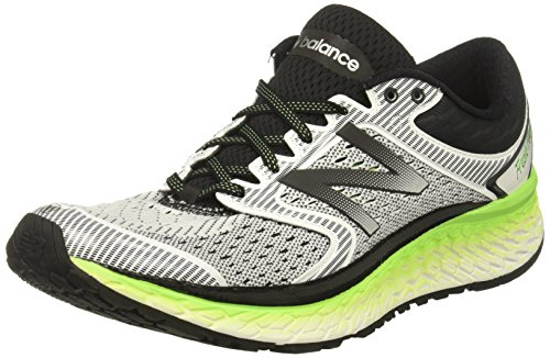 New Balance Men's 1080V7 Running-Shoes, White/Energy Lime, 11 D US