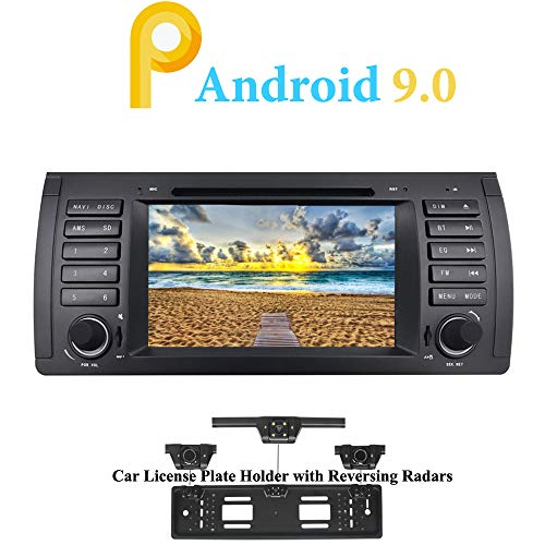XISEDO Android 9.0 Head Unit 7' Quad Core In-Dash Car Stereo Autoradio Sat Nav Car GPS Navigation with DVD Player for BMW 5-E39/BMW X5-E53 (with UK/EU License Plate Frame)