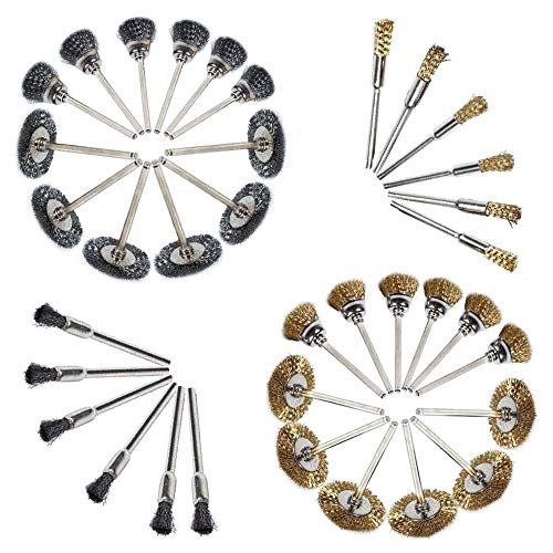 ManLee 36Pcs Brass Coated Wire Brush Wheel & Cup Brush Set Steel Mini Wire Brushes Drill Wire Brush Set with Shank for Power Rotary Tool Rust Corrosion Paint Cleaning Gold/Sliver