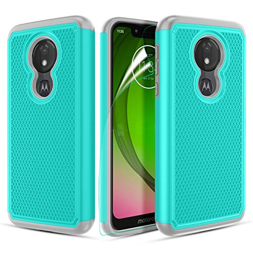 "Moto G7 Play Case, Moto G7 Optimo XT1952DL /T-Mobile Revvlry Case w/Screen Protector[Hybrid Dual Layer]&[Non-Slip Design] Shockproof Armor Rugged Phone Case for Motorola Moto G7 Play(5.7"")-Teal"