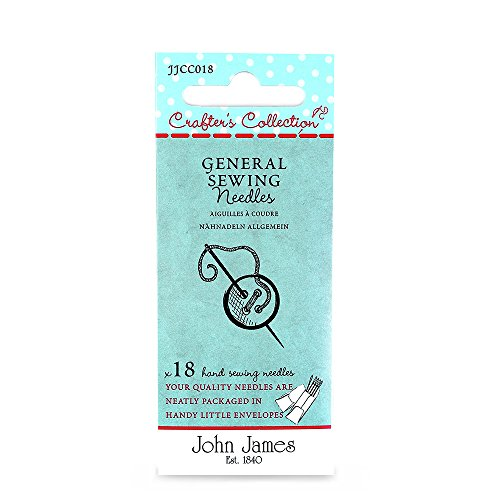 John James Crafter's Collection Large Eye General Sewing Needles x18 - Sizes: 3, 5, 7