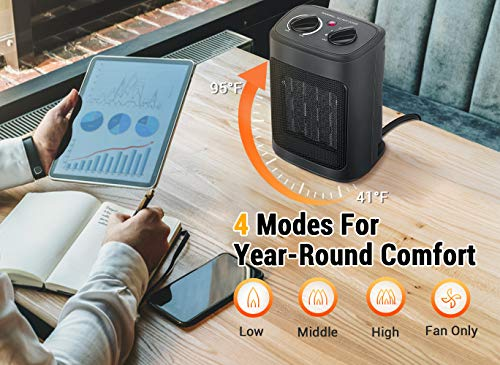 Aikoper Space Heater, 1500W Electric Heaters Indoor Portable with Thermostat, PTC Fast Heating Ceramic Room Small Heater with Heating and Fan Modes for Bedroom, Office and Indoor Use