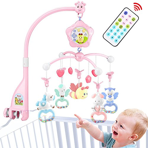 caterbee Baby Mobile for Crib with Music, Crib Mobile for Girls with Lights and Musical, Remote and Toys for Pack and Play,Stroller Accessories. Material:ABS+Plastic (Pink-Bee)