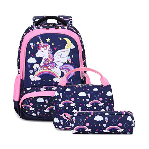 Girls Unicorn Backpack Set - 3 IN 1 Waterproof Schoolbag with Lunch Bag and Pencil Case for Preschool Elementary Kids