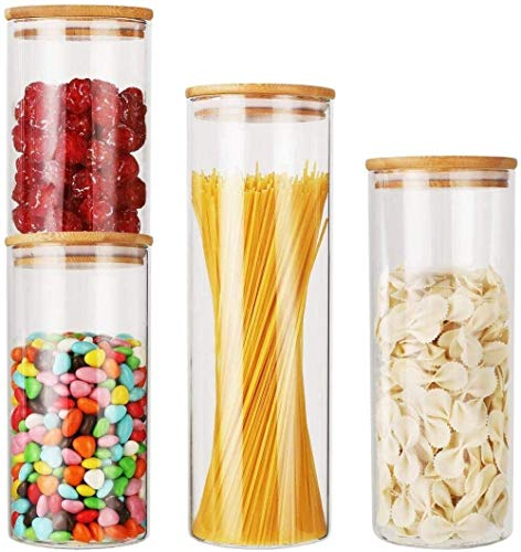 Lebensmittellagerbehälter mit Deckel Verdickte Borosilikat-Glas mit Bambus Airtight Deckel, Set von 4 Küche Klarglasbehälter Spendern for Kaffee, Zucker, Keks, Spaghetti Pasta Lebensmittelbehälter