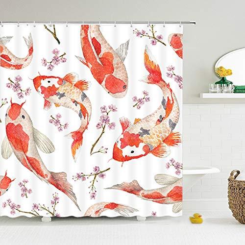 Duschvorhang Panel für Badewanne, Karpfen Blume Zweig Druck Duschvorhang, wasserdicht Bad Vorhang Stoff mit Haken Dekoration Duschvorhang,