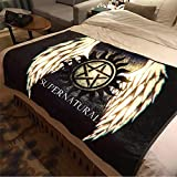 ASDIWON Dean and Sam Blanket Flannel Warm Soft Plush on The Sofa Bed Blanket Suitable for Air Conditioning Blanket Nap Blanket (60x80in(150x200cm),A)