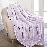 PAVILIA Fluffy Sherpa Throw Blanket for Couch Sofa | Plush Shaggy Fleece Blanket | Soft, Fuzzy, Cozy, Warm Microfiber Throw Solid Blanket, Lavender Light Purple, 50x60