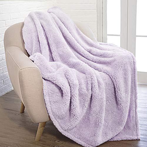 PAVILIA Fluffy Sherpa Throw Blanket Lavender Light Purple | Plush, Super Soft, Fuzzy, Shaggy Fleece Blanket for Couch Sofa Bed | Cozy Warm Decorative Furry Faux Fur Blanket, 50x60