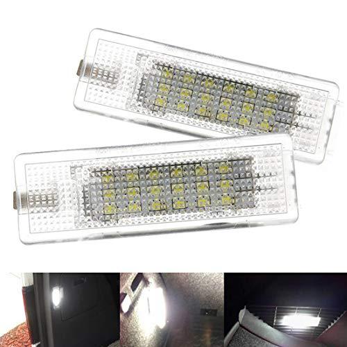 VIGORFLYRUN PARTS LTD 2pcs LED Interior Cortesía Pie Bajo Puerta Luz Blanca para Golf 5 6 7 MK5 P-assat B6 CC Polo 5D, Auto 18 Led Error Free Xenón Blanco Lámpara de Tronco