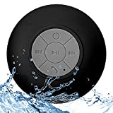 WYNCO Shower Speaker Bluetooth Waterproof Water Resistant Hands-Free Portable Wireless, Built-in Microphone, Solid Suction Cup, Long Play Time (Black/Grey)