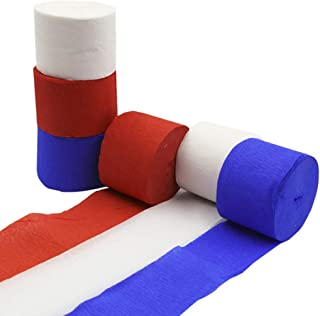 Crepe Paper Streamer Rolls Hanging Party Decoration Total 490-Feet, 6Rolls, Theme Party Streamer for Wedding Bridal Baby Shower Birthday Art Project Supplies, by BllalaLab(White, Red, Blue -Patriot)
