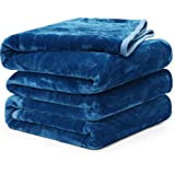 Fleece Blanket Queen King Twin Throw Size Soft Summer Cooling Breathable Luxury Plush Travel Camping Blankets Lightweight for Sofa Couch Bed (Peacock Blue, Twin (66' x 90'))