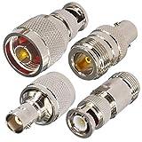 YILIANDUO 4 Stück N-Typ auf BNC Adapter Set Stecker/Buchse auf Stecker/Buchse RF Koax Adepter Test Konverter für SDR Radio Walkie Talkie CCTV System