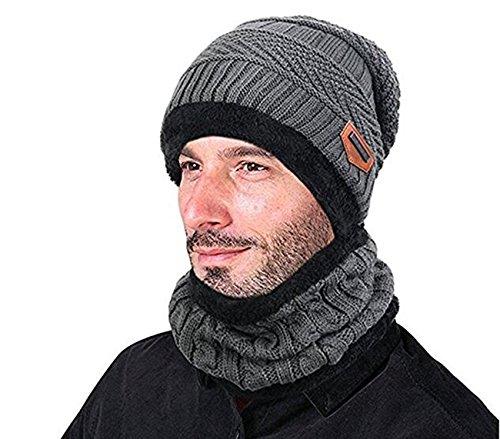 2 PCS/Set Winter Mütze Hut Schal Set Outdoor Strickmütze Super Weiche Super Warme Beanie für Männer und Frauen.Momoon, Grau, Einheitsgröße
