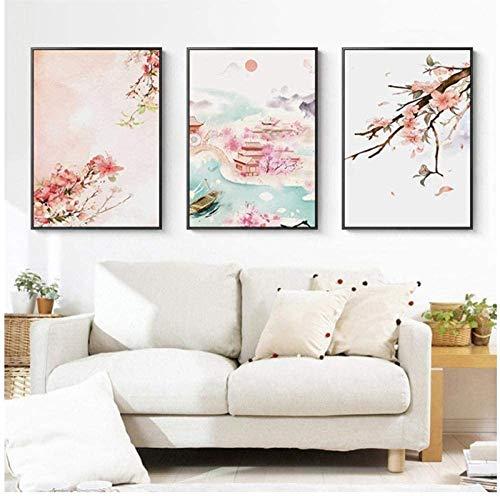 JYWJ Pintura moderna minimalista abstracta decorativa acuarela paisaje rosa cerezo flor lienzo pintura cartel arte pared cuadro sin marco (80 x 100 cm x 3)