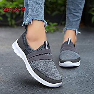 2019 Women Sneakers Breathable Mesh Shoes Woman Slip on Flats Loafers Ladies Shoes Creepers Tenis Feminino(Light Blue,36(5.5))