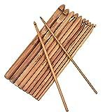 12PZ Set de Agujas de Tejer Punto Agujas Ganchillo Bambú, Set de Ganchillos Crochet Ganchillos Crochet Kit Set Agujas de Bambú Agujas de Punto de Madera para le Tissage Adultos Principiantes, 3 a 10mm