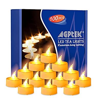 Long Lasting Tealights, AGPtek 100 Battery-Operated No flicker Steady LED Candles Flameless for Wedding Party