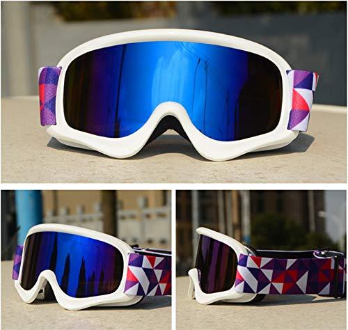 N\A Gafas para deportes al aire libre para niños, doble antivaho, UV400, gafas de esquí para niños, gafas de esquí, deportes al aire libre, gafas de snowboard (color: marco blanco azul)