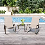 Garden Rocking Chair Set of 2, Brown High Back Patio Rocker Lounge Chair, Indoor Outdoor Leisure Relax Armchair with Metal Steel Frame and Textoline Fabric for Home Patio Balcony Poolside Backyard