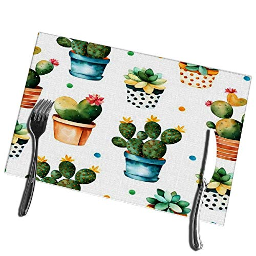 Winter-Zuid eettafel Placemats Kleurrijke aquarel Textuur met Cactus en Succulente Plant in pot Hoge Hittebestendige Placemats