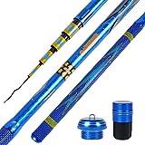 JIAGU Mosca de caña de Pescar 5.4m / 5.7m Rod de Pescar Rod de Pesca de Carbono Ultraligero Herramienta de Pesca al Aire Libre Barras de Mosca de Agua Dulce (Color : Blue, Size : 5.7m)