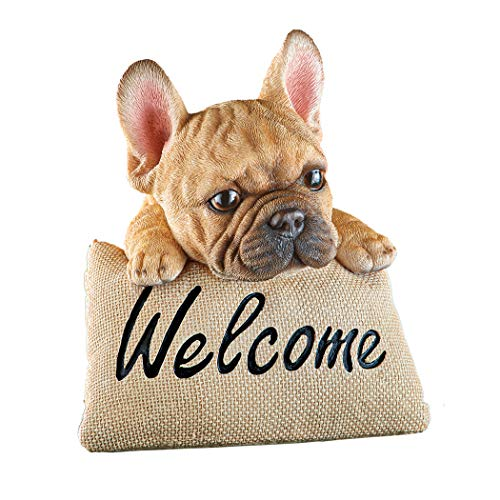 Collections Etc Friendly Pups Decorative Welcome Pillow Sign - Realistic Details - Resin - 5' L x 5' W x 5.5' H - Choose Yorkie, Schnauzer, Pug, French Bulldog