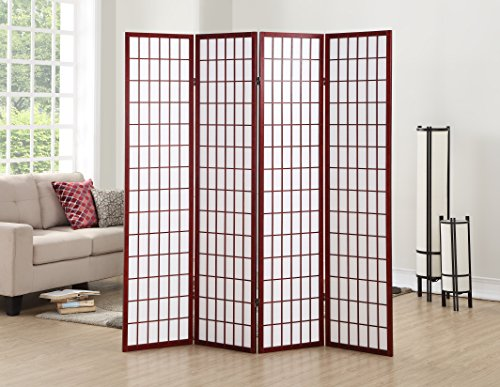 Roundhill Furniture 4 Panel Oriental Shoji Screen Room Divider, Cherry