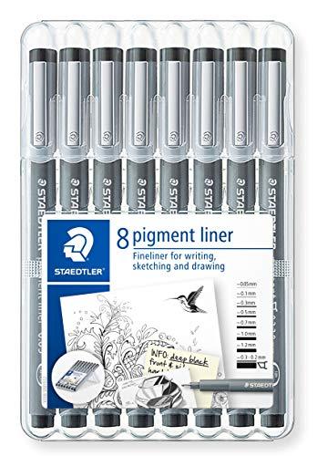STAEDTLER 308 SB8 Fineliner Pigment Liner Schwarz, 8 Stück in aufstellbarer STAEDTLER-Box