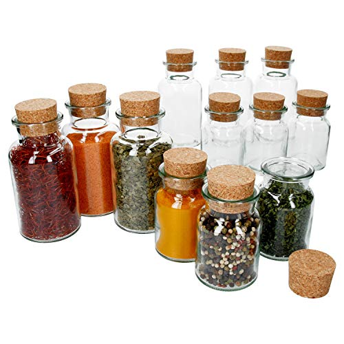 MamboCat Lot de 12 bocaux à épices avec bouchon en liège I 6 x 150 ml + 6 x 300 ml I Bocal de conservation + couvercle en liège I Hermétique I Rangement pour thé, herbes, épices