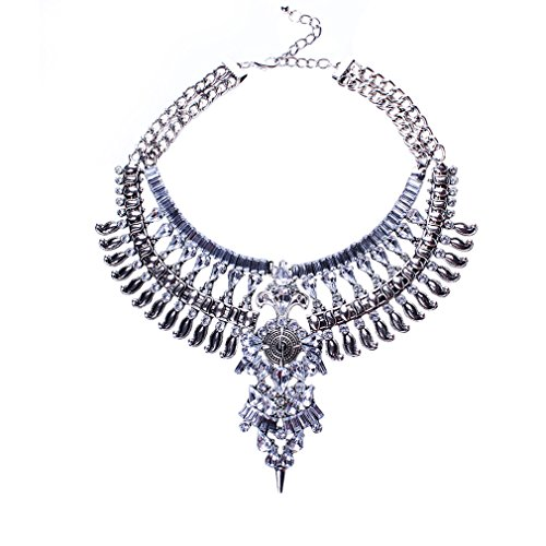 Yazilind Versilberte Crystal Flower Anhänger Halskette Bib Anweisung Kette Choker Klobige Kragen Frauen