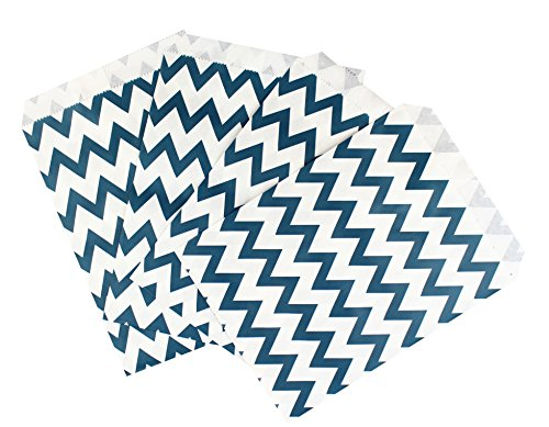 "Premium Quality Paper Party Favor Treat Bags, Food Safe, Biodegradable Bags for Parties, Weddings and Holidays, 5"" x 7"" Size, 25 Count (Teal Chevron)"