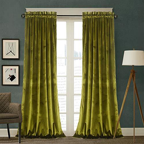 Roslynwood Velvet Curtains 2 Panels Set, Block Light Thermal Insulated Velour Rod Pocket Drapes for Bedroom and Living Room (52 x 96 inch, OliveGreen)