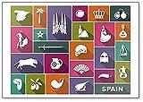 Imán para nevera con diseño de símbolos tradicionales de España