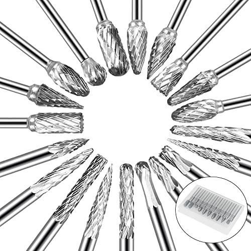 SUNJOYCO 20PCS Carbide Cutting Burr Set for Dremel Rotary Tool, 1/8