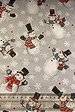 Fat Quarter Weihnachts-Weihnachts-/Schneemänner auf grauem