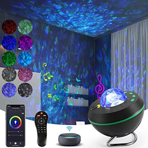 Lámpara Proyector de Luz Estelar, KNMY Proyector de Estrellas Funcionan con la Smart App y Alexa, LED de Luz Nocturna de Nebulosa con Temporizador Bluetooth Control Remoto, Niños Adultos Decoración