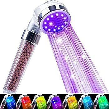 Nosame Led Shower Head Filter Filtration High Pressure Water Saving 7 Colors Automatically No Batteries Needed Spray Handheld Showerheads 1.6 GPM for Dry Skin & Hair