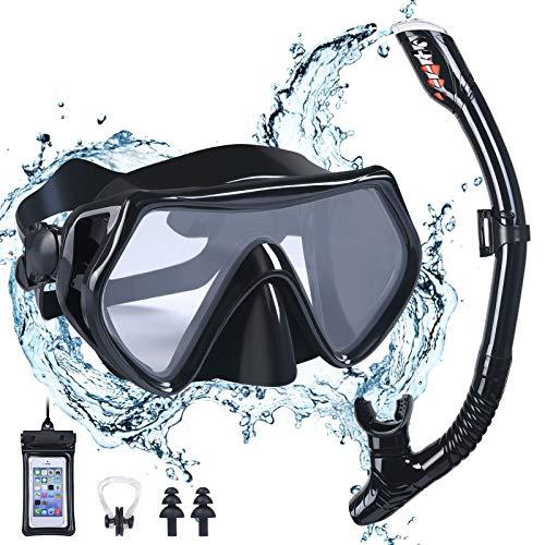 flintronic Kit de máscara y Tubo para Snorkelling, Máscara de Buceo Snorkel Set Máscara de Esnórquel con Máscara Antivaho y Snorkel Seco, Negro